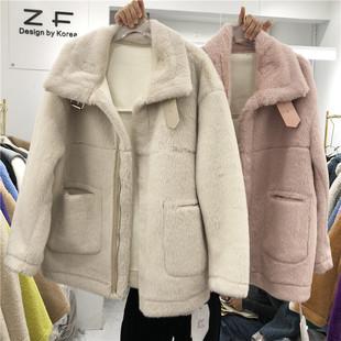 冬装宽松chic水貂毛机车外套加厚纯色立领皮毛一体上衣潮