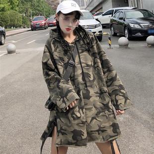 原宿风宽松bf中长款迷彩长袖连帽卫衣女秋季学生工装外套上衣