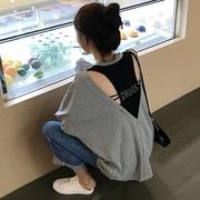 港风chic复古宽松露背字母长袖T恤女秋季镂空漏背上衣潮学生