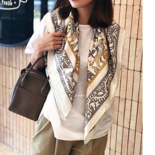 大方巾没人会拒绝的日系温婉 高雅经典 真丝斜纹绸披肩丝巾围巾
