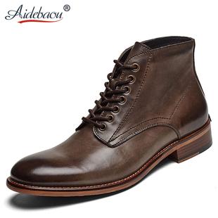 爱得堡皮靴男高帮马丁靴男英伦风男士短靴商务靴子男复古男靴