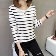 黑白条纹长袖T恤女中长款海军风t体恤纯棉百搭宽松打底衫秋装