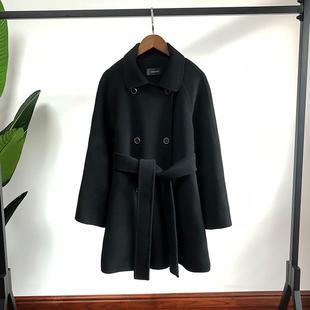 黑色双面呢子大衣女冬季中长款复古收腰小个子毛呢外套赫本风