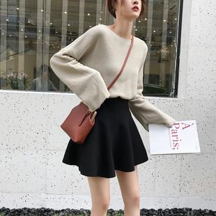 针织短裙秋冬女半身裙打底裙蓬蓬百褶a字裙伞裙冬季裙子秋裙冬裙