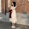 秋冬女装仙女气质长袖白色雪纺连衣裙宽松显瘦打底裙过膝长裙