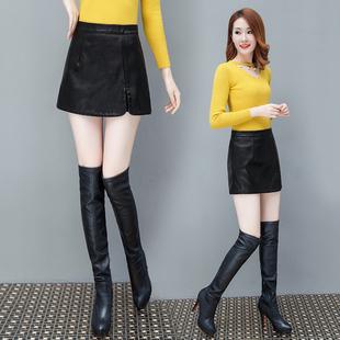 秋冬皮裙裤女短裙高腰百搭假两件PU皮裤裙大码包臀外穿靴裤潮