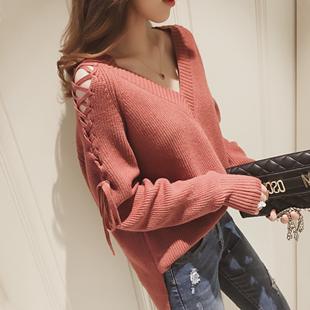 秋冬季女装宽松打底针织衫长袖v领镂空上衣服学生毛衣T恤