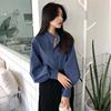 港味复古立领单排扣蓝色衬衫女秋装2018宽松时尚长袖上衣
