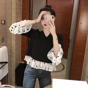 秋季女装2018复古小香风洋气小衫气质拼接显瘦长袖雪纺衫上衣