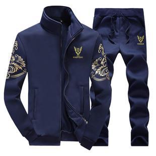 卫衣男士套装2018秋季加绒青少年男装运动外套上衣服
