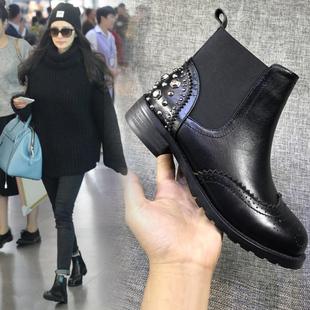 2018春秋冬平底小短靴女网红切尔西女靴子裸靴女鞋马丁靴瘦瘦