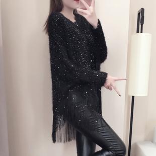 2018秋冬针织衫外套女宽松蝙蝠长袖上衣毛衣流苏披肩斗笠