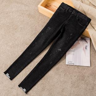 弹力加绒牛仔裤女高腰冬季2018薄绒显瘦小脚九分铅笔裤子