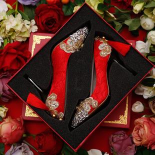 红色高跟鞋细跟蕾丝尖头婚鞋金色水钻敬酒礼服女单鞋秀禾新娘鞋