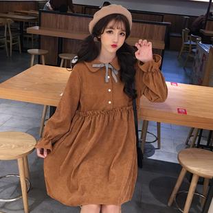 2018秋季女装日系学生少女甜美可爱小清新娃娃领灯芯绒长袖连衣裙