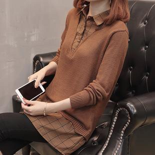 衬衫领套头毛衣女春秋宽松打底针织衫秋装女中长款假两件