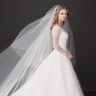 韩式素纱新娘头纱简约蓬蓬加宽长款拖尾婚纱头纱双层遮面旅拍头纱