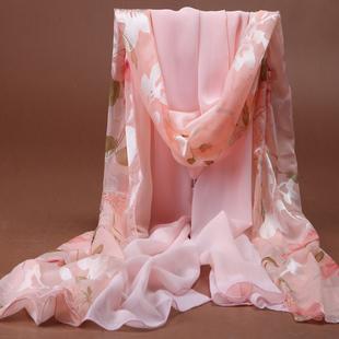 杭州丝巾女冬季长款雪纺围巾春秋百搭沙巾印花披肩防晒沙滩巾