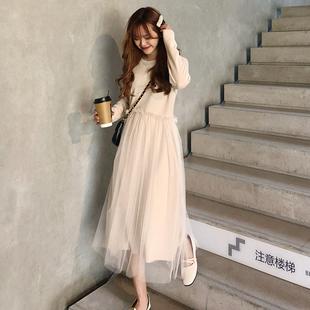 春季女装气质纯色甜美拼接网纱中长款打底连衣裙长裙学生裙子