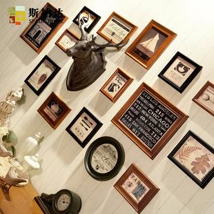 美式复古实木照片墙欧式客厅相册挂墙相框组合照片墙装饰创意个性