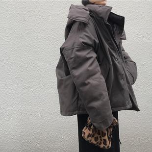 韩国冬季BF风复古宽松连帽拉链保暖加厚外套学生蓬蓬工装棉服棉衣