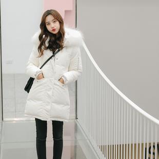 2018冬装白色大毛领鹅绒加厚中长款羽绒服女显瘦时尚