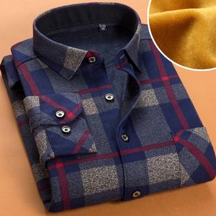 秋冬季加绒加厚商务男士保暖衬衫长袖衬衣潮流正装寸衫