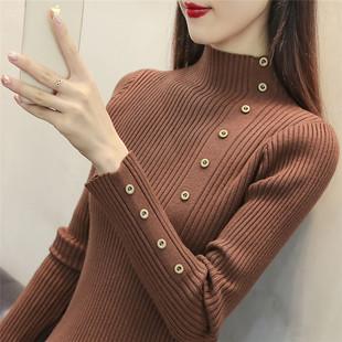 半高领毛衣打底衫女长袖2018秋冬套头短款加厚针织衫