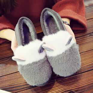 秋冬款加绒豆豆鞋女平底女鞋防滑赖人瓢鞋保暖棉鞋学生毛毛鞋