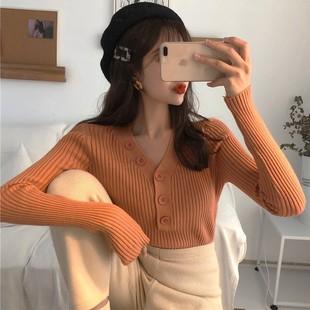 2018秋冬季V领单排扣针织衫毛衣长袖套头打底衫上衣女装