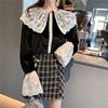 2019春季大翻领衬衣蕾丝拼接丝绒打底长袖衬衫上衣女装