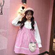 秋装女装日系甜美可爱假两件拼接撞色娃娃领宽松长袖连衣裙子