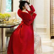 大红色高端复古大翻领羊绒羊毛过膝加厚外套真狐狸毛气场大衣
