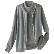日本18秋高雅珍珠风开襟编织女士毛衣两件套 有大码