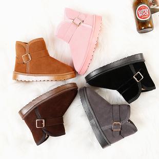 儿童雪地靴保暖棉鞋2018冬季加绒女童短靴男童宝宝防水靴鞋子