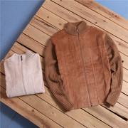 欧美复古针织袖短条绒灯芯绒秋薄短装夹克外套L12-Y858男女中性