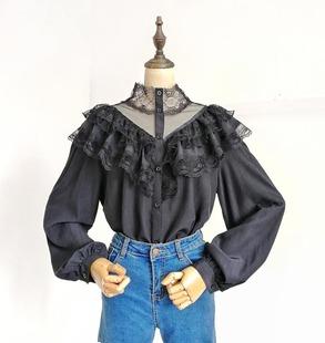 秋季甜美蕾丝荷叶边网纱高领灯笼袖直筒显瘦超仙打底衬衫