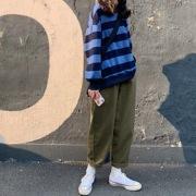 秋季套装原宿bf风百搭复古撞色条纹长袖卫衣+宽松工装裤