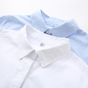 蓝色衬衣春季宽松纯色衬衫纯棉长袖学生上衣白衬衫女