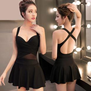 泳衣女保守小胸聚拢遮肚显瘦钢托连体裙式韩国大码性感温泉游泳衣