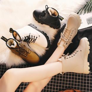 冬季雪地靴女2018加绒加厚马丁靴学生棉鞋百搭短筒厚底短靴子