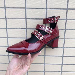 2018尖头漆皮酒红色单鞋欧美复古高跟一字带脚环玛丽珍女鞋