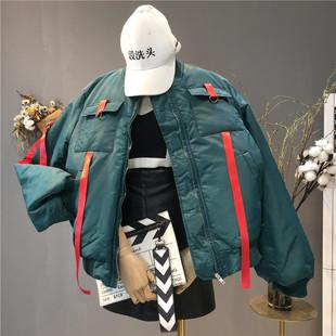 秋冬女装长袖大码夹克宽松棒球服外套时尚大口袋学生上衣