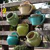 壁挂复古陶瓷欧式创意阳台垂吊盆多肉水培绿萝悬挂式墙壁装饰花盆