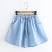 女大童牛仔裤宽松裤子小学生女孩夏天薄款短裤外穿女生12岁15