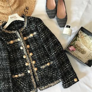 陈米米 18年秋季女装 气质高雅小香风复古双排扣格纹西装外套