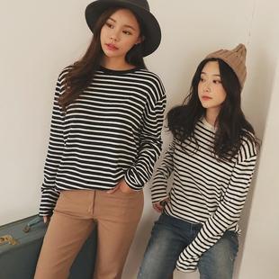 2019春装女装 黑白长袖条纹T恤女宽松大码上衣加绒纯棉打底衫