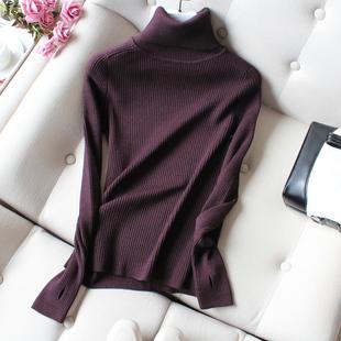 高领毛衣女士2019秋冬季紧身内搭加厚套头长袖针织打底衫