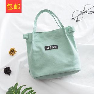 帆布袋手提袋饭盒袋折叠便携小清新拎包环保布袋带饭包便当包
