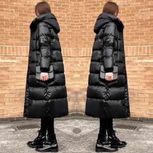 黑色羽绒服女2018冬季过膝中长款宽松加厚轻薄外套潮